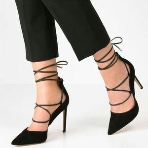 Sam Edelman Dayna ankle wrap heels black suede 6.5
